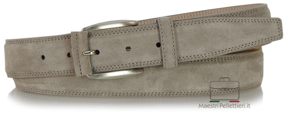 cintura scamosciata Taupe grigio - Acciaio