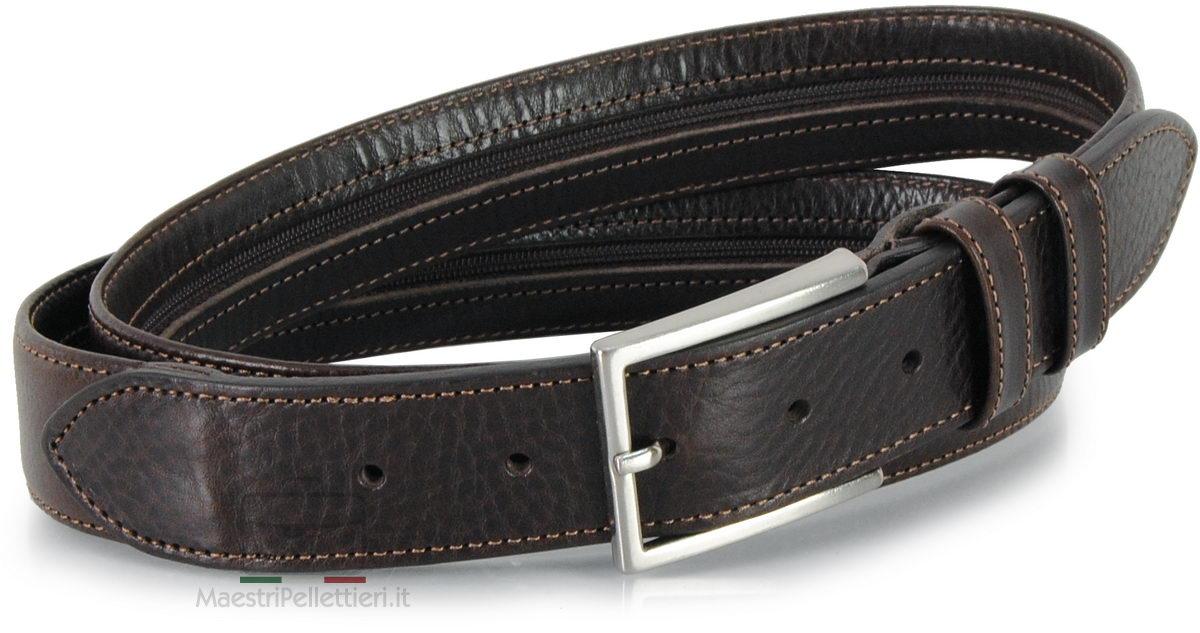belt with zip brown