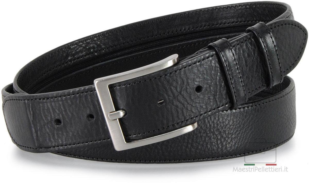 cintura con cerniera zip in pelle