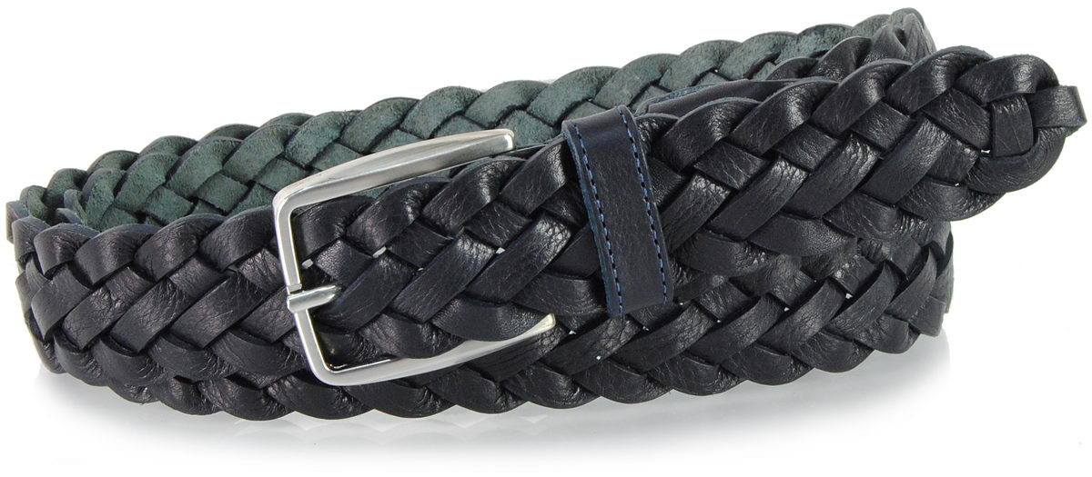 braided leather belt blue