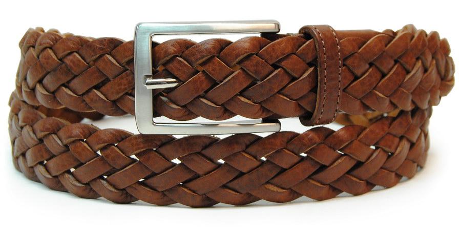 cintura intrecciata cuoio - acciaio