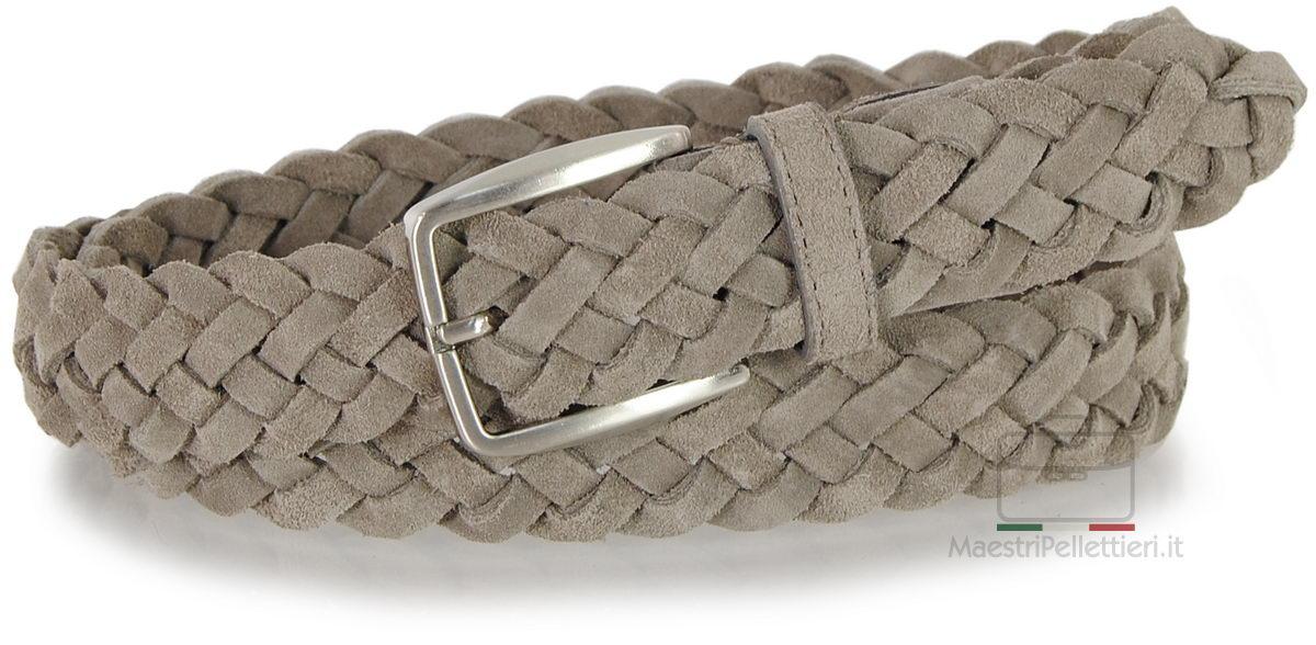 cintura intrecciata scamosciata grigio taupe
