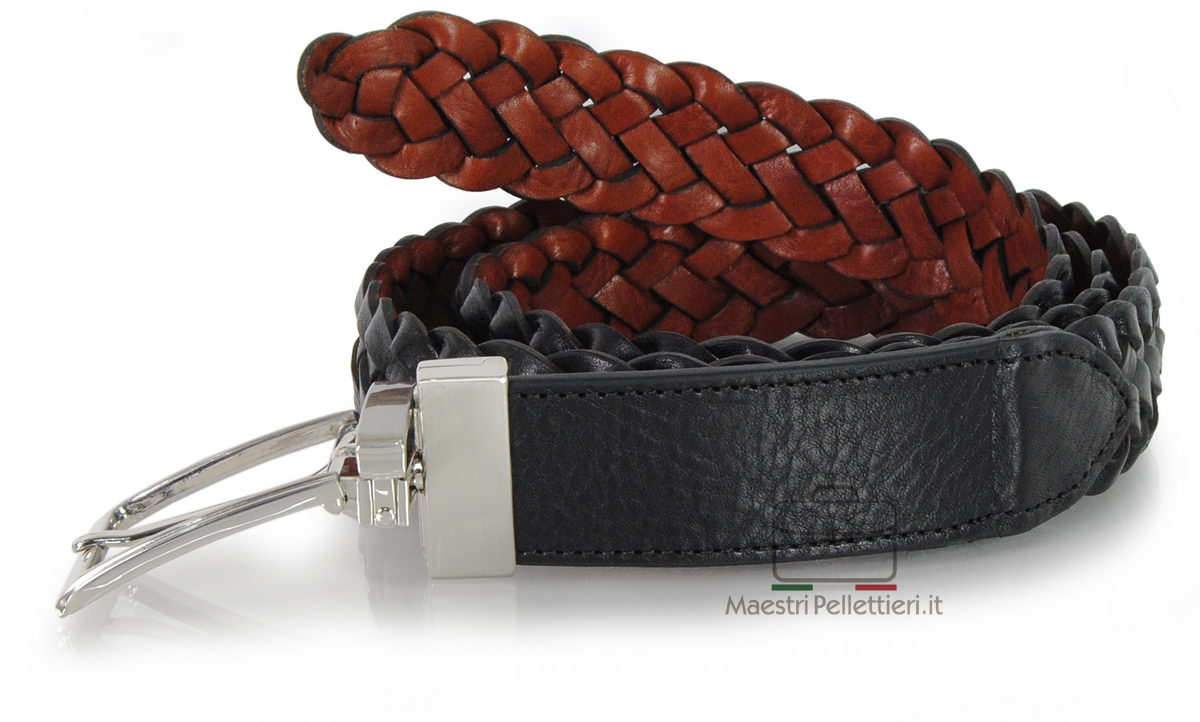 braided belt double side leather