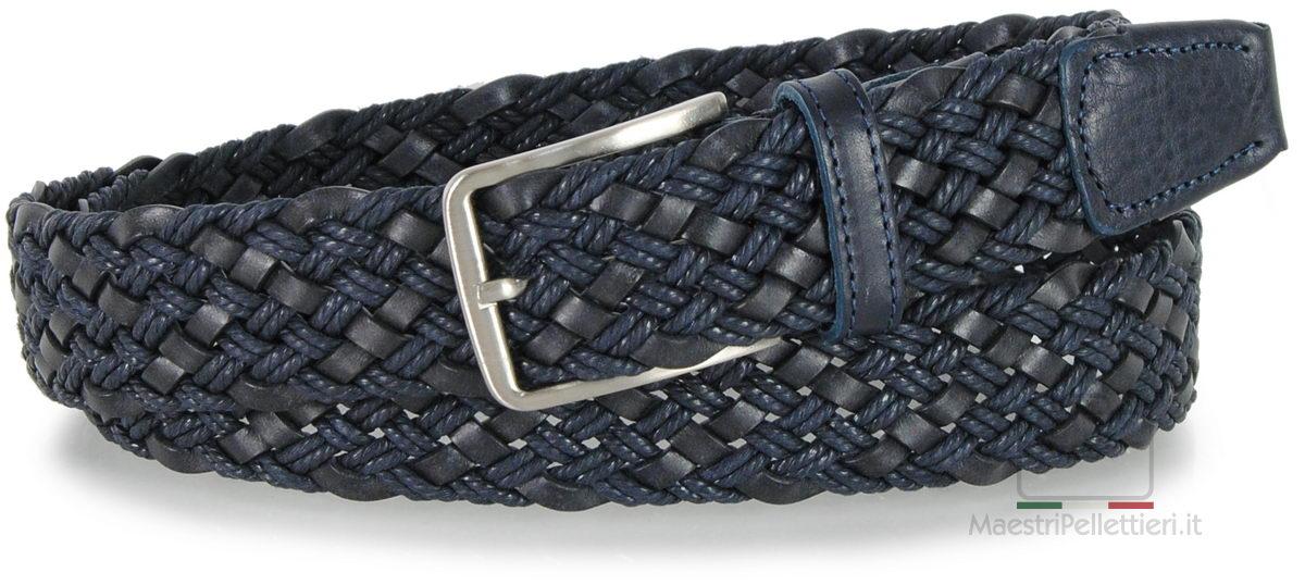 cintura intrecciata cuoio blu