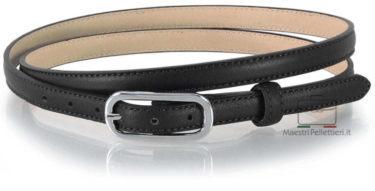 241a42b0a71 Cintura Donna sottile 1.5cm in pelle Nero