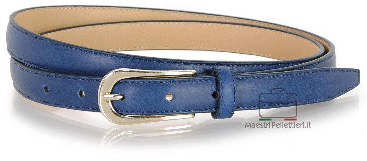 cintura donna sottile pelle blu