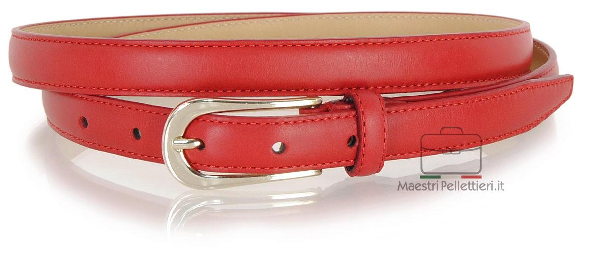 cintura donna sottile pelle rossa