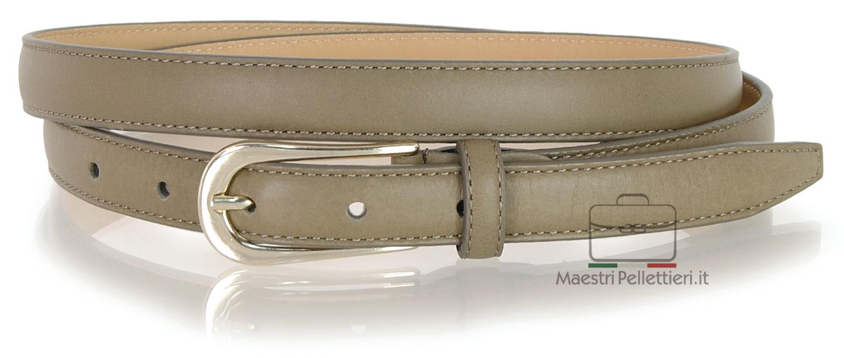 women's skinny taupe grey leather belt