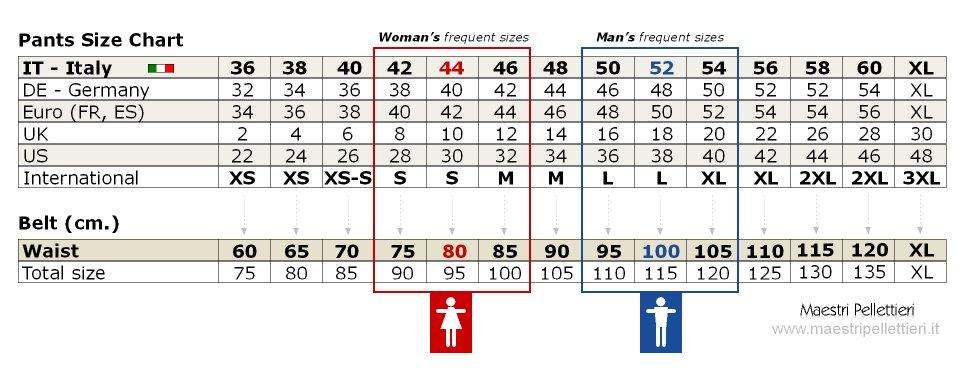 Pants size chart and relative belt's waist size lenght, on www.maestripellettieri.it