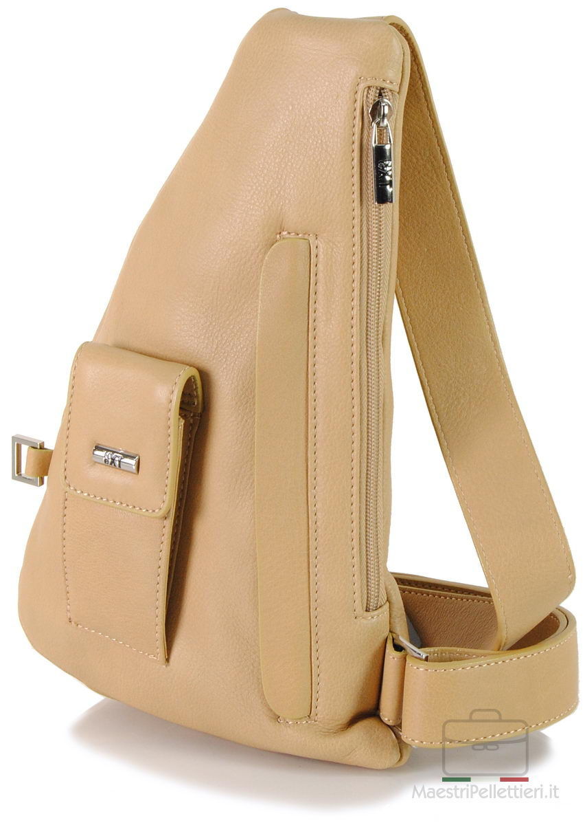 monospalla in pelle body bag beige