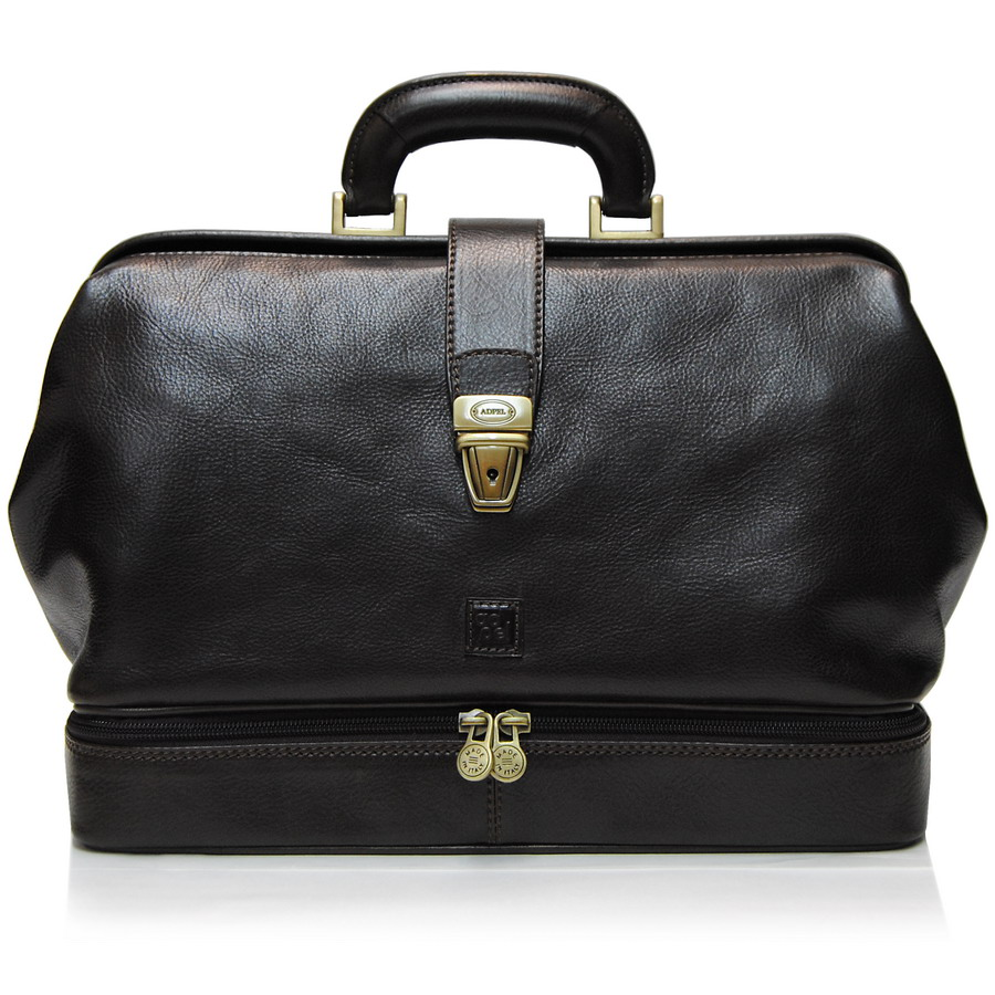 c4ebf0a352cf Doctor s bag made by italian vegetable leather Moro Brown