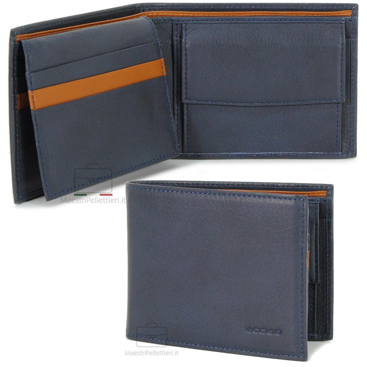 portafoglio blu da uomo con aletta | Acciaio