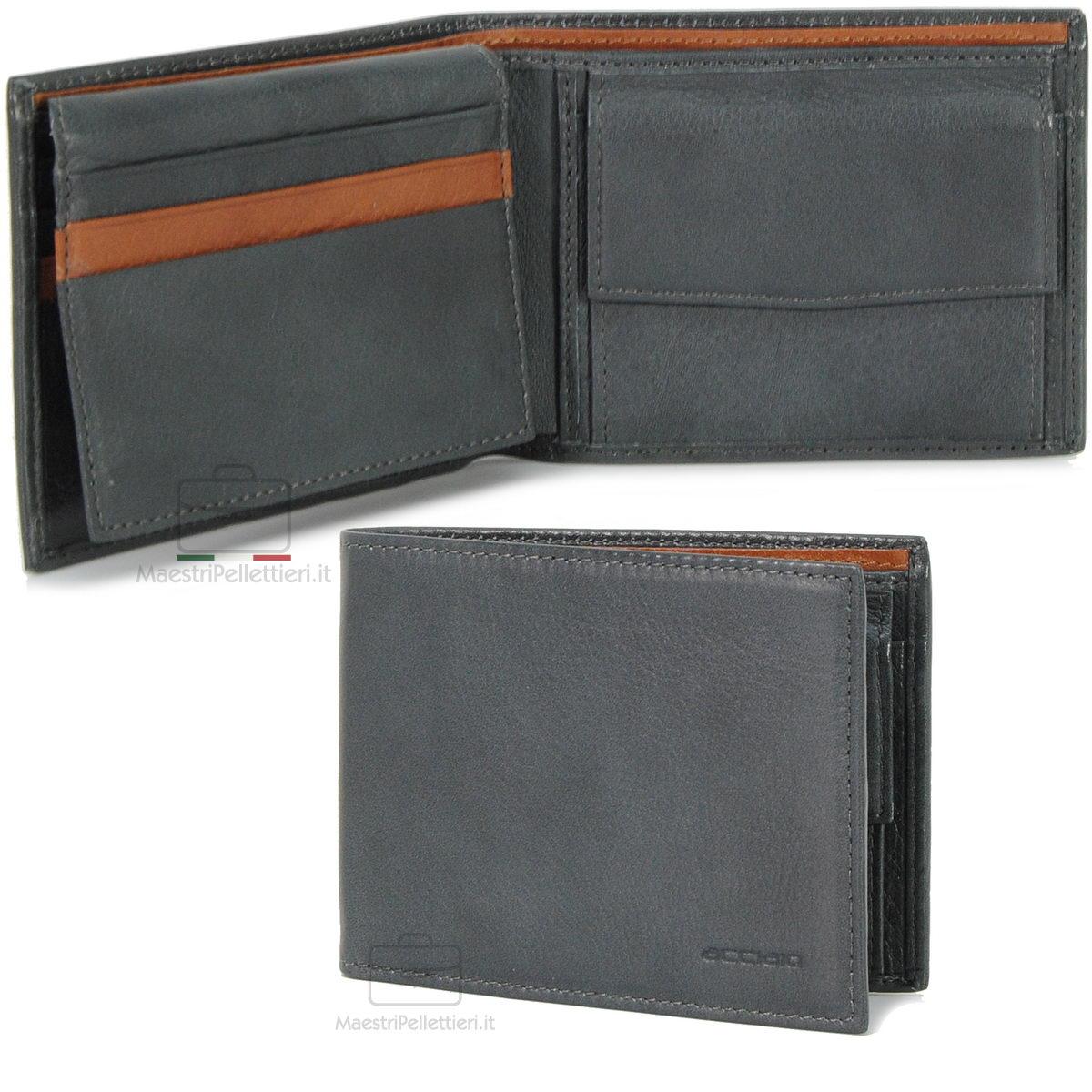 portafoglio grigio da uomo con aletta | Acciaio