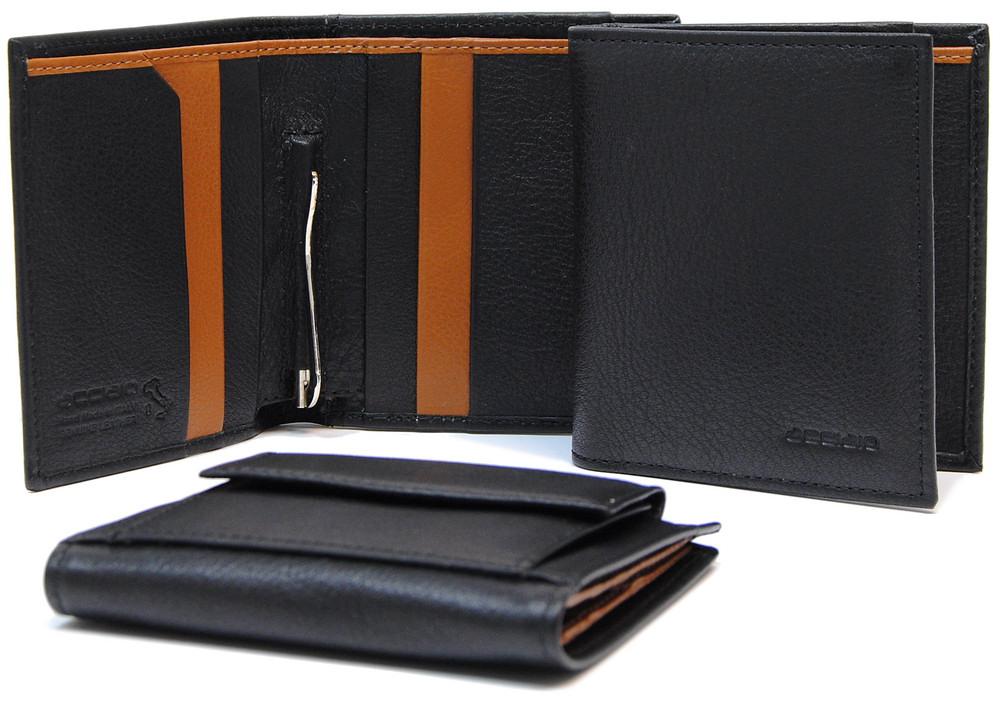 portafoglio con fermasoldi clip gancio in pelle colore nero | Acciaio