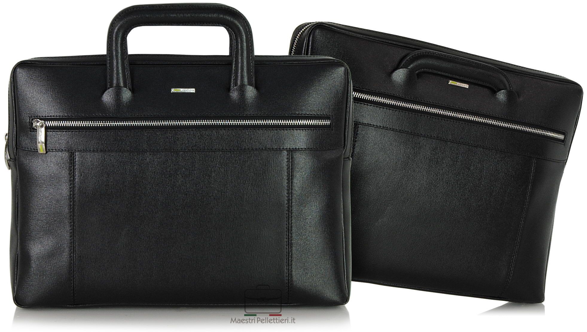 Portfolio briefcase with two handles saffiano