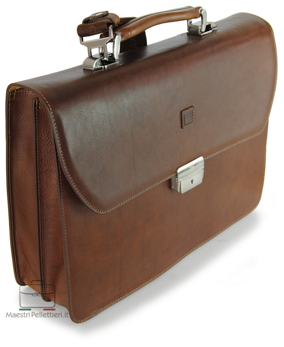 men's business bag brown with shoulder strap - made in Italy | Adpel