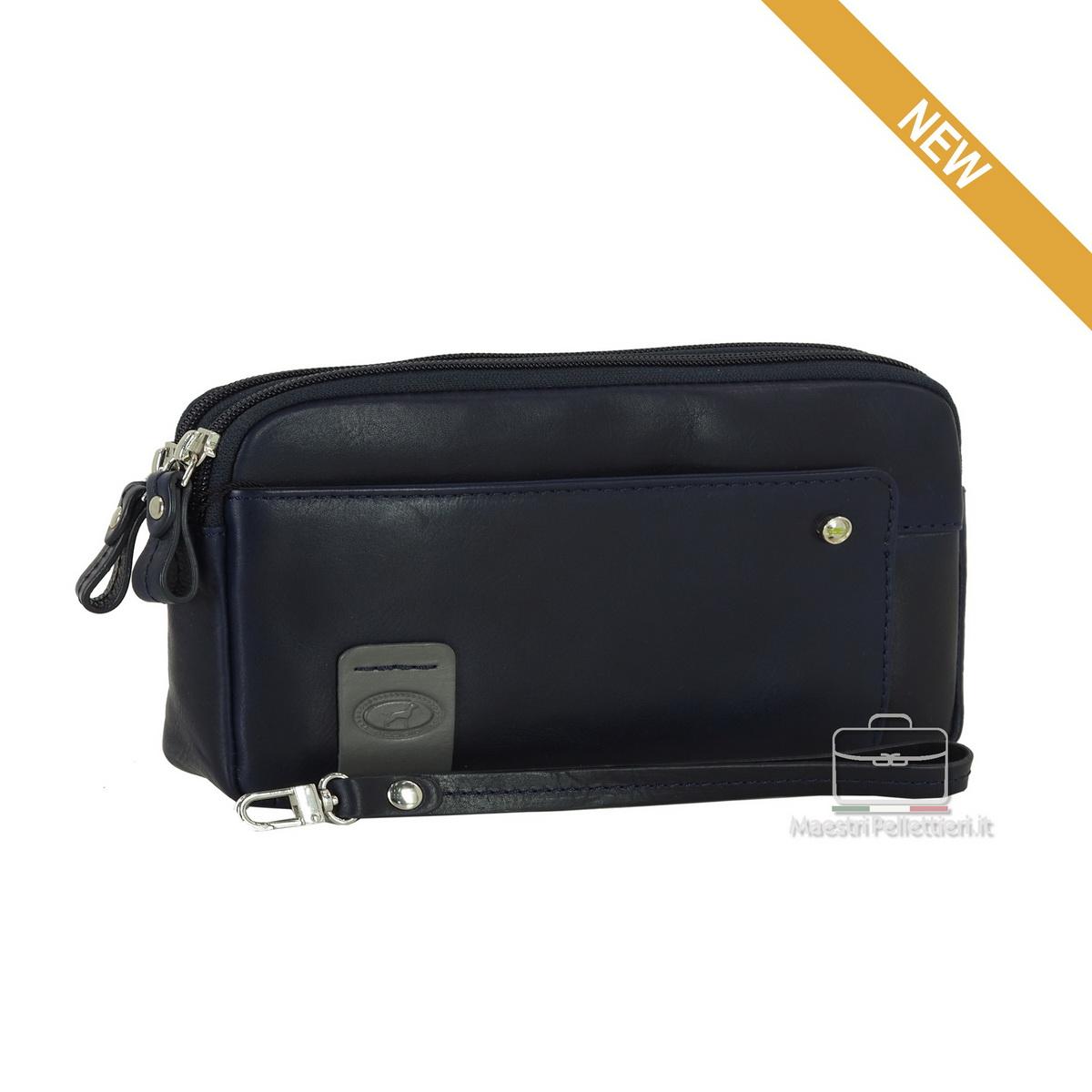 Wrist bag leather clutch