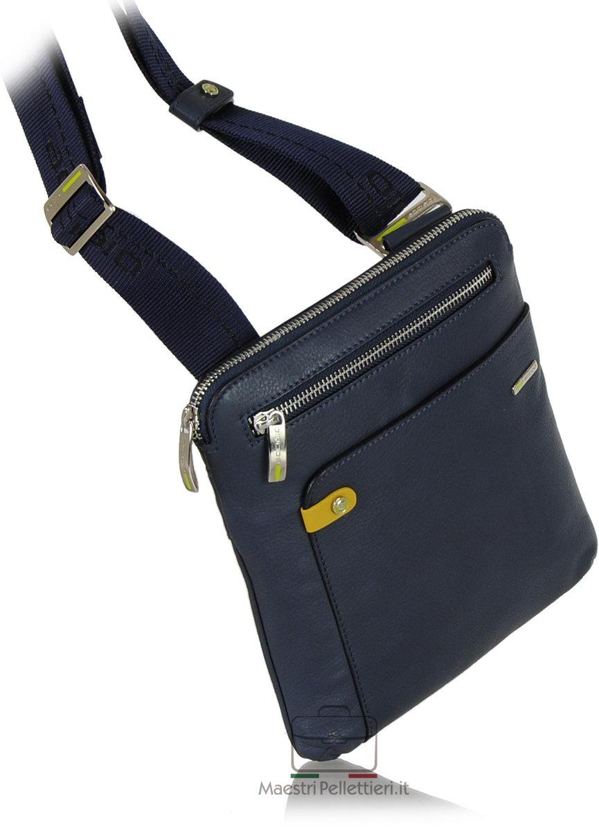 borsello per tablet in pelle Blu Navy | Acciaio
