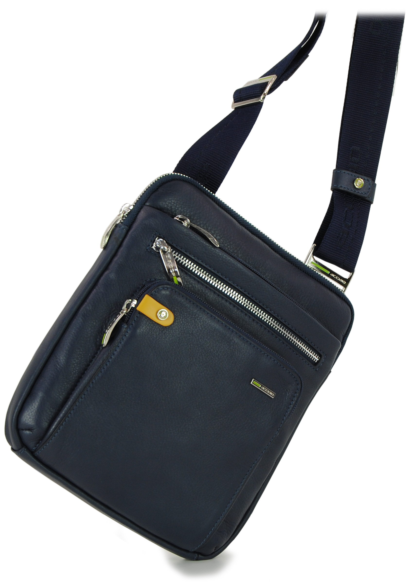 ipad shoulder bag in leather blue navy, made in Italy | Acciaio