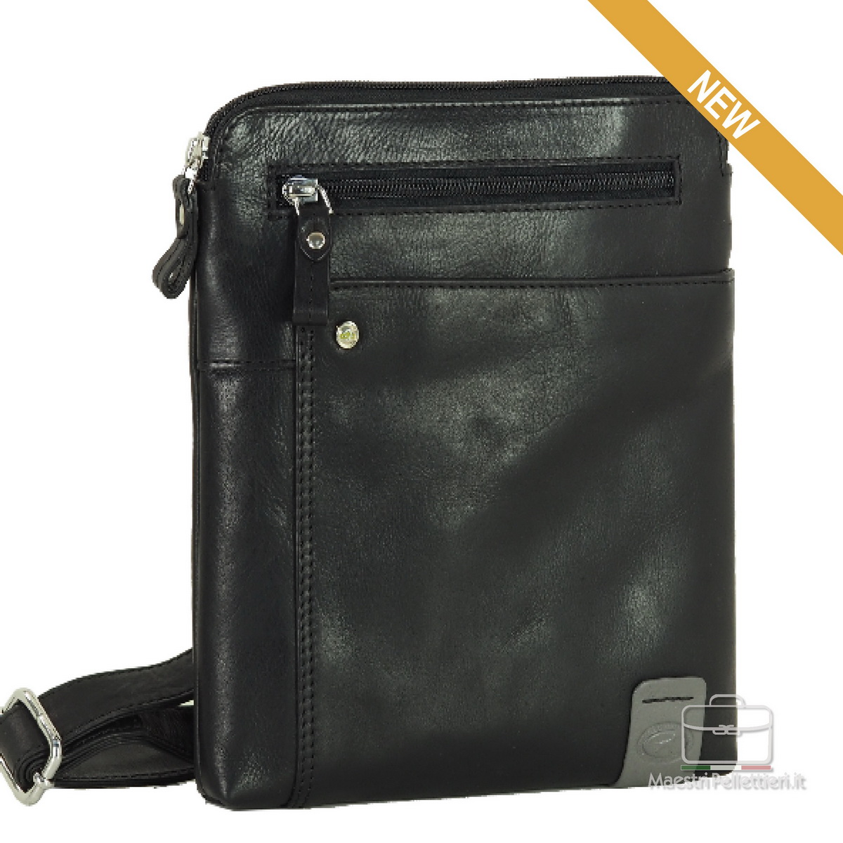 ipad shoulder bag in leather taupe gray, made in Italy | Acciaio