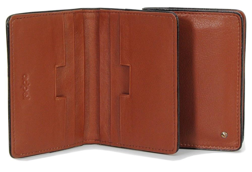 porta carte di credito in pelle elegante cognac