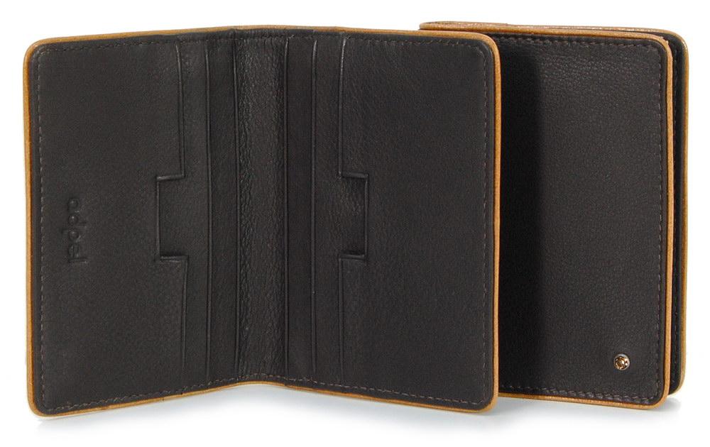 porta carte di credito in pelle elegante marrone scuro