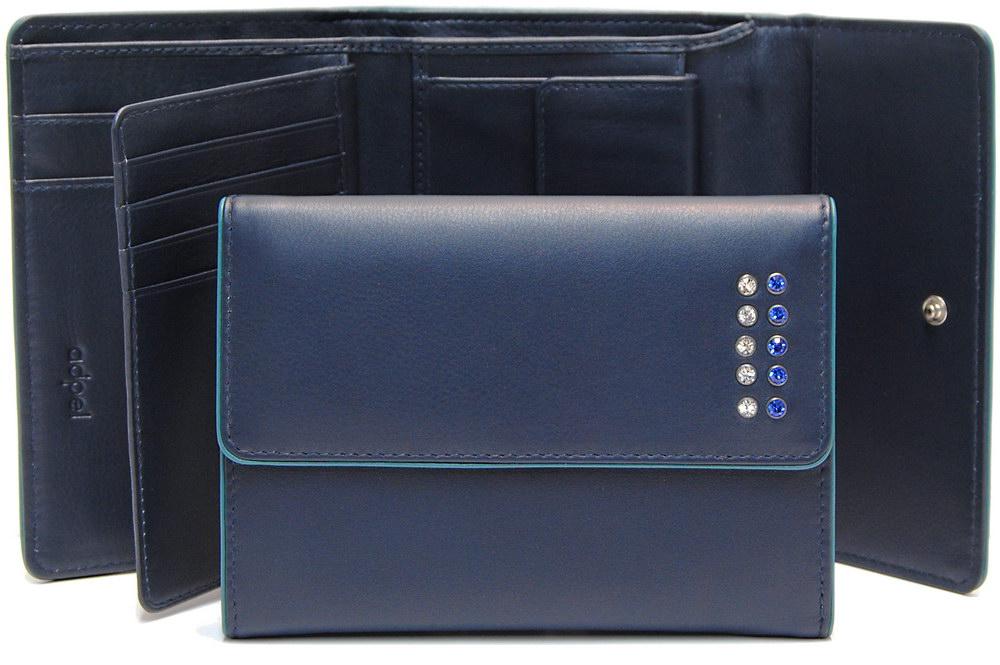 portafoglio donna zip blu con swarovski
