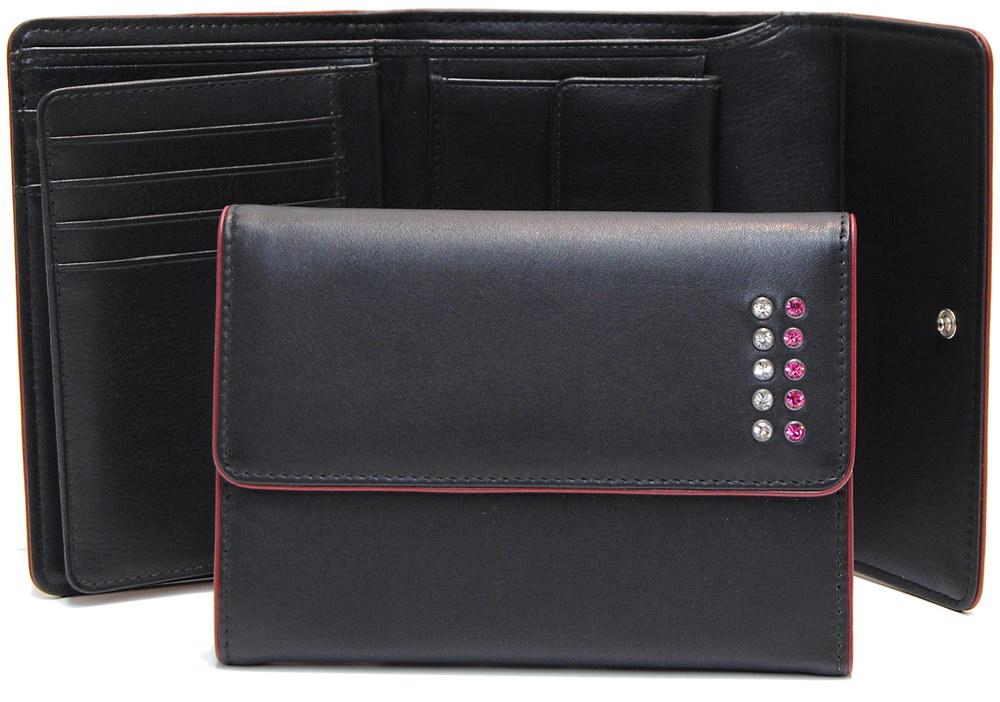 portafoglio donna zip Nero con swarovski