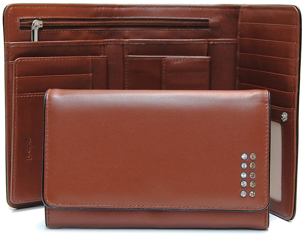 portafoglio donna zip marrone chiaro con swarovski