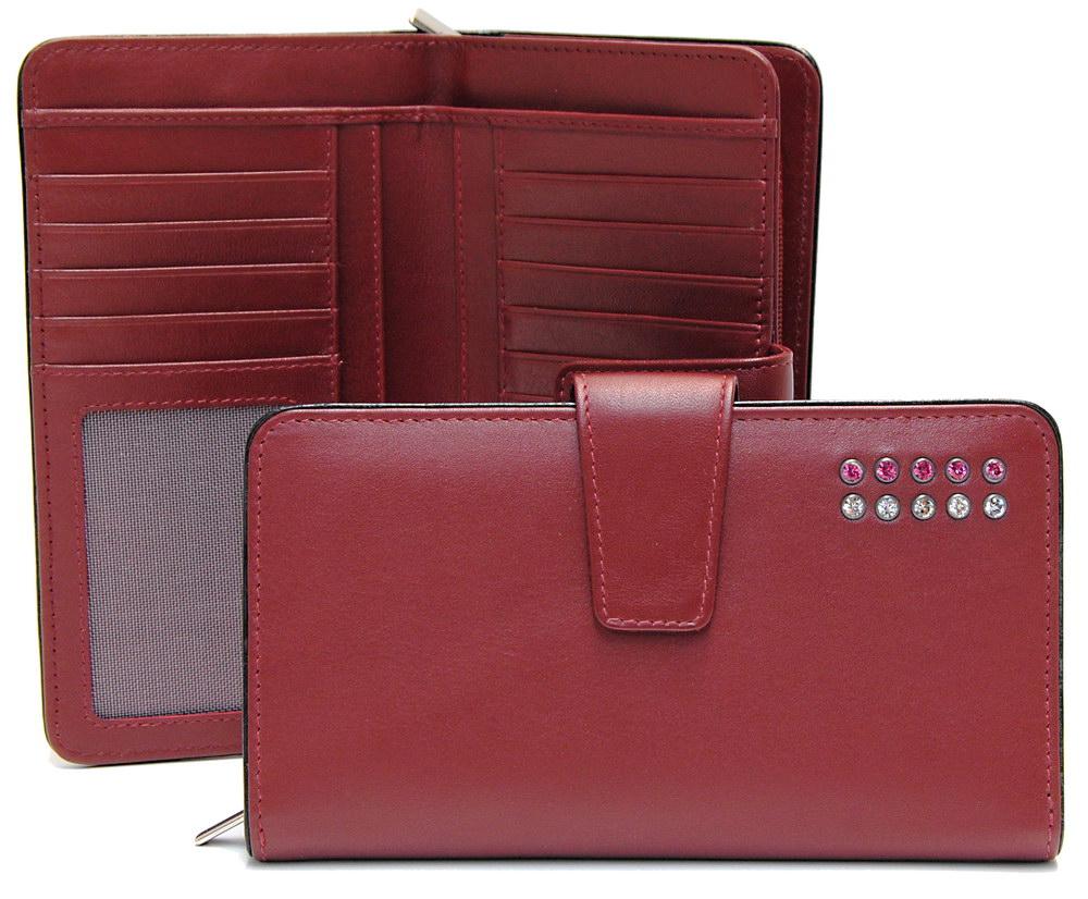 stylish women's zip wallet burgundy with strass swarovski