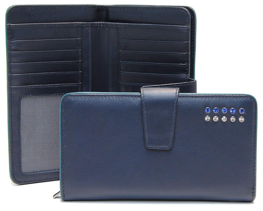 portafoglio da donna zip elegante blu con strass swarovski