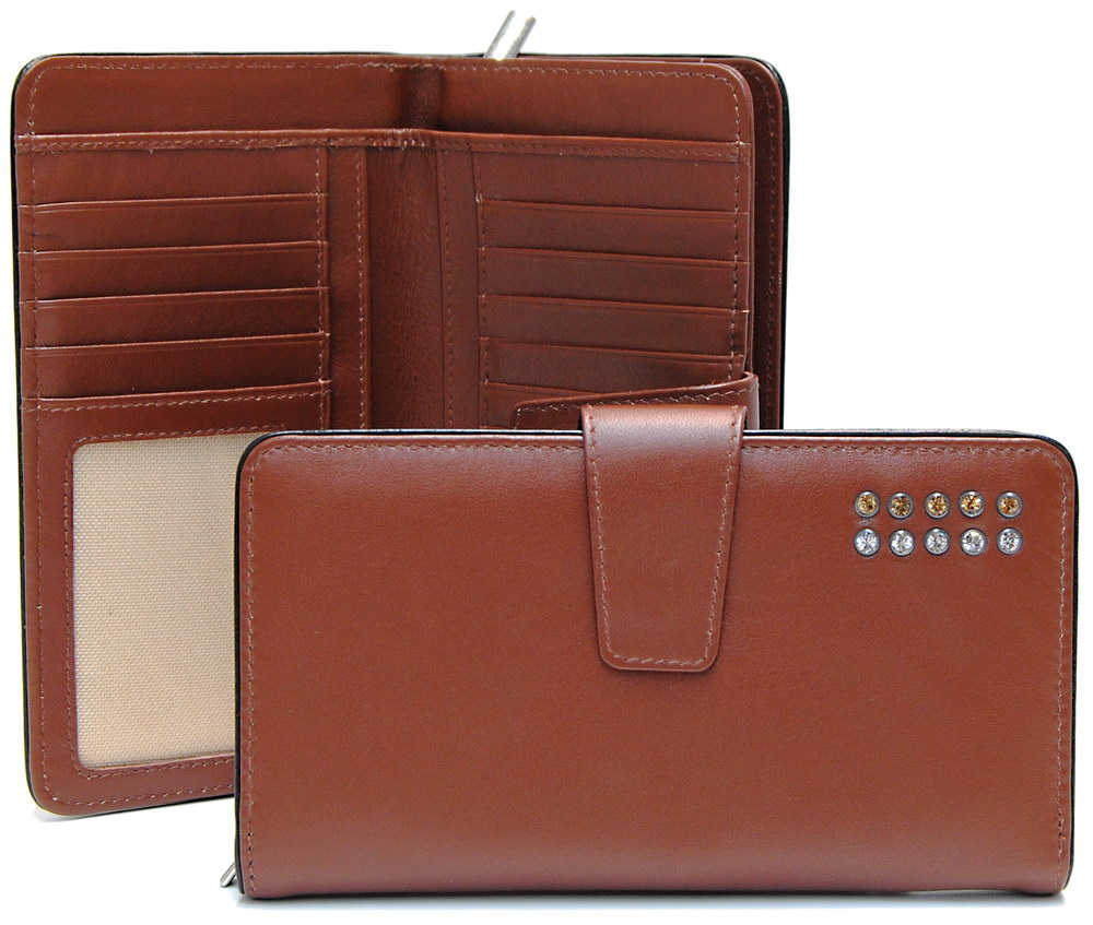 stylish women's zip wallet cognac with strass swarovski