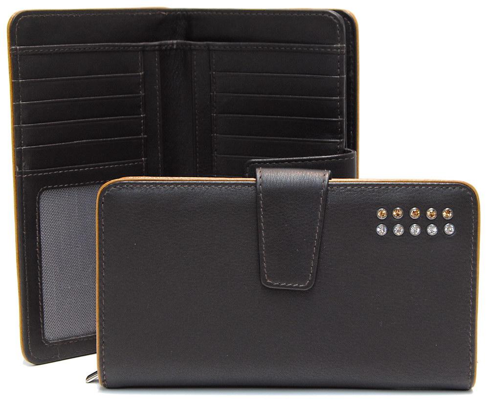 stylish women's zip wallet brown with strass swarovski