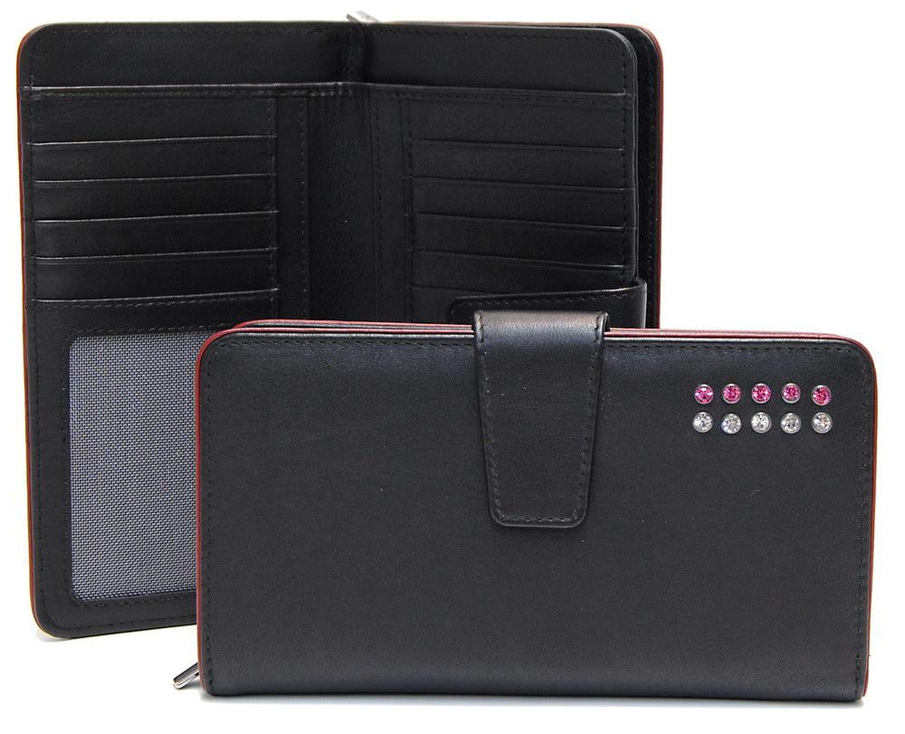 stylish women's zip wallet with strass swarovski