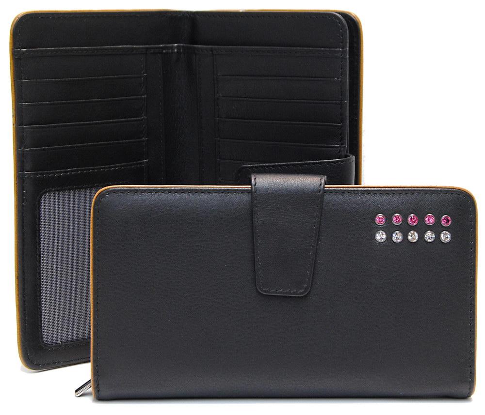 portafoglio da donna zip elegante nero con strass swarovski