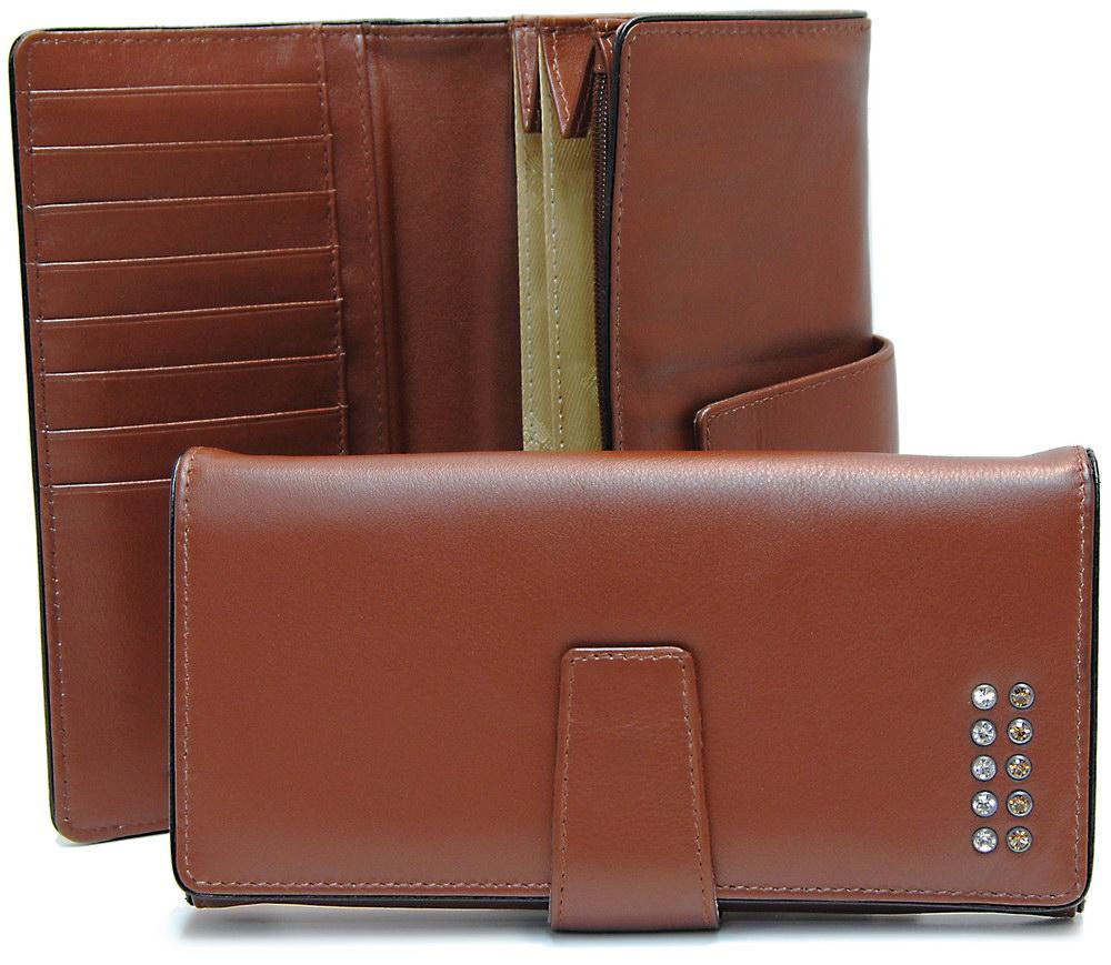stylish women's folding wallet cognac with strass swarovski