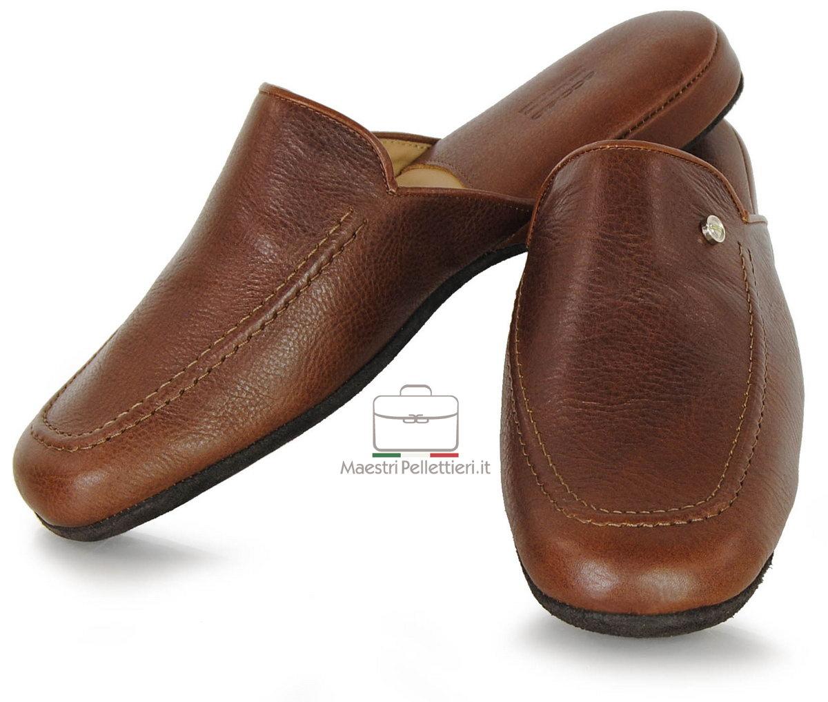 Pantofole da uomo in pelle - artigianali made in Italy