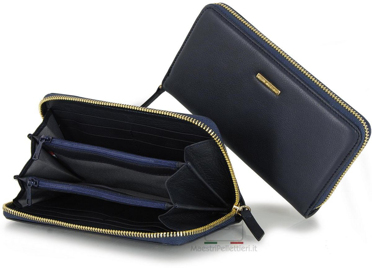 portafoglio donna blu zip