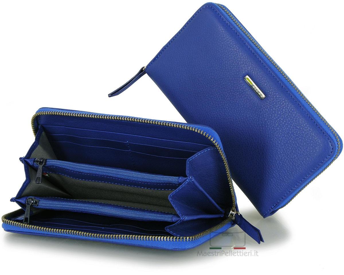 portafoglio donna indaco blu zip