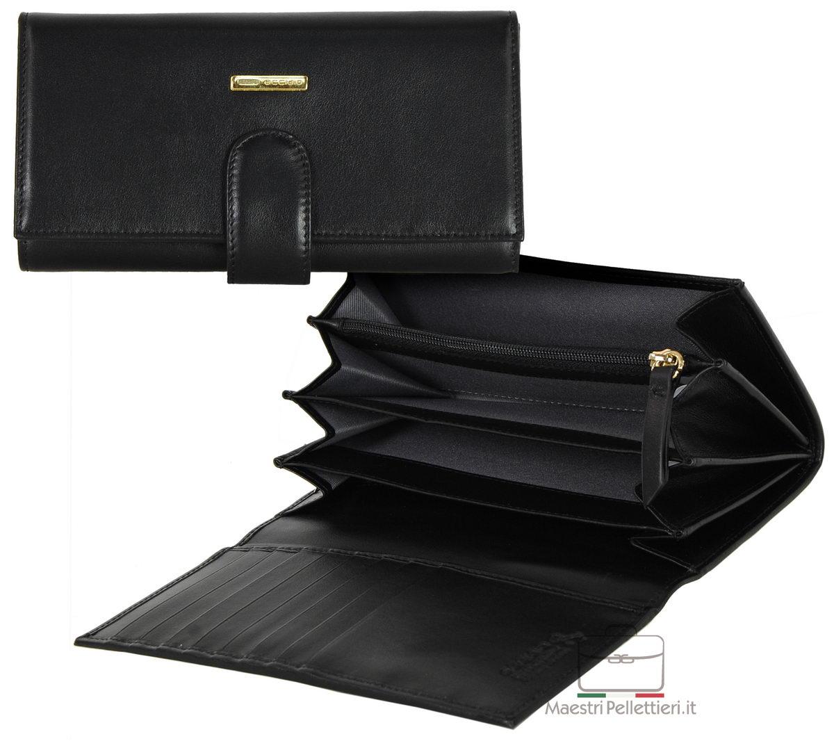 portafoglio donna nero zip
