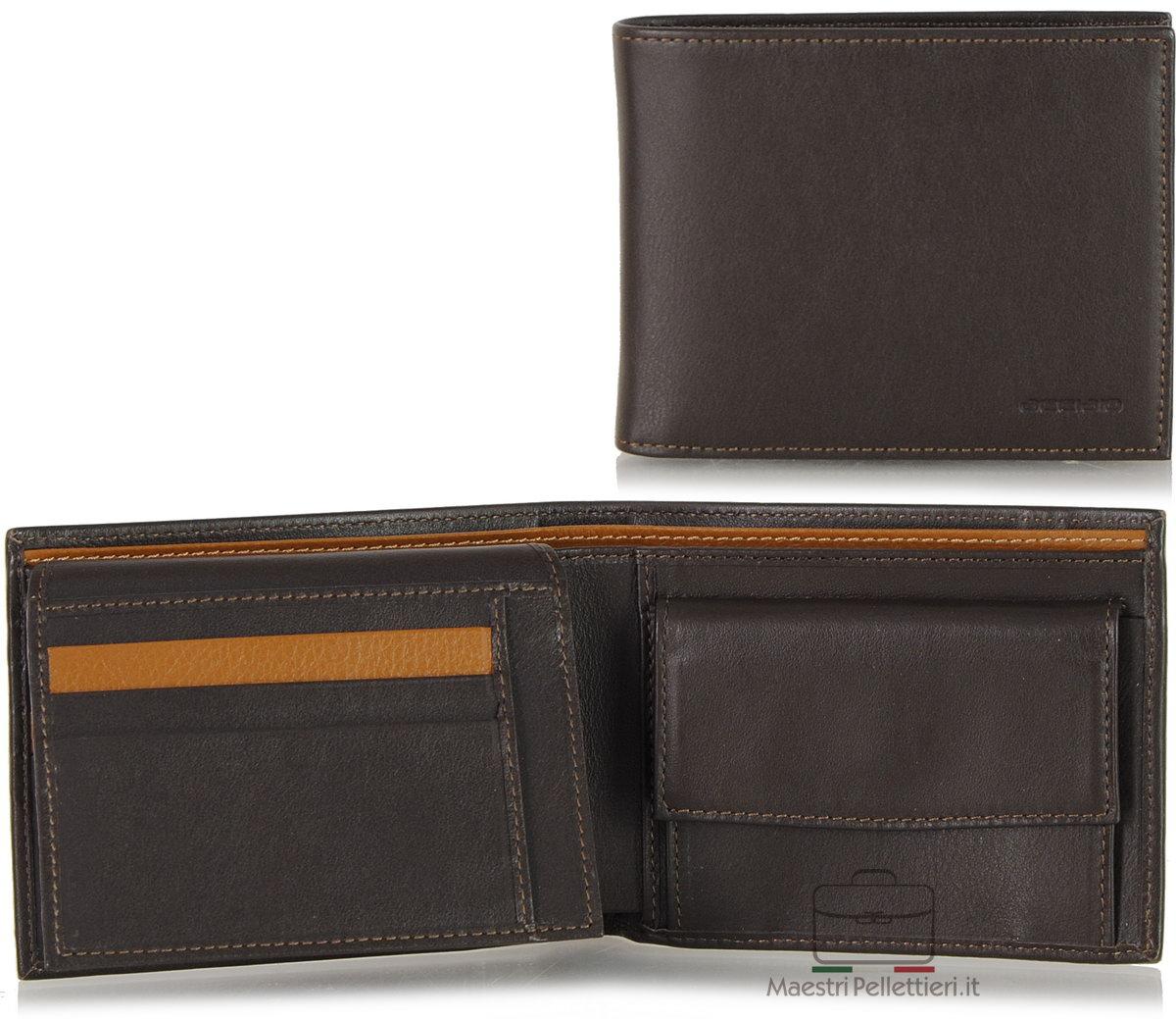 portafoglio marrone da uomo con aletta | Acciaio