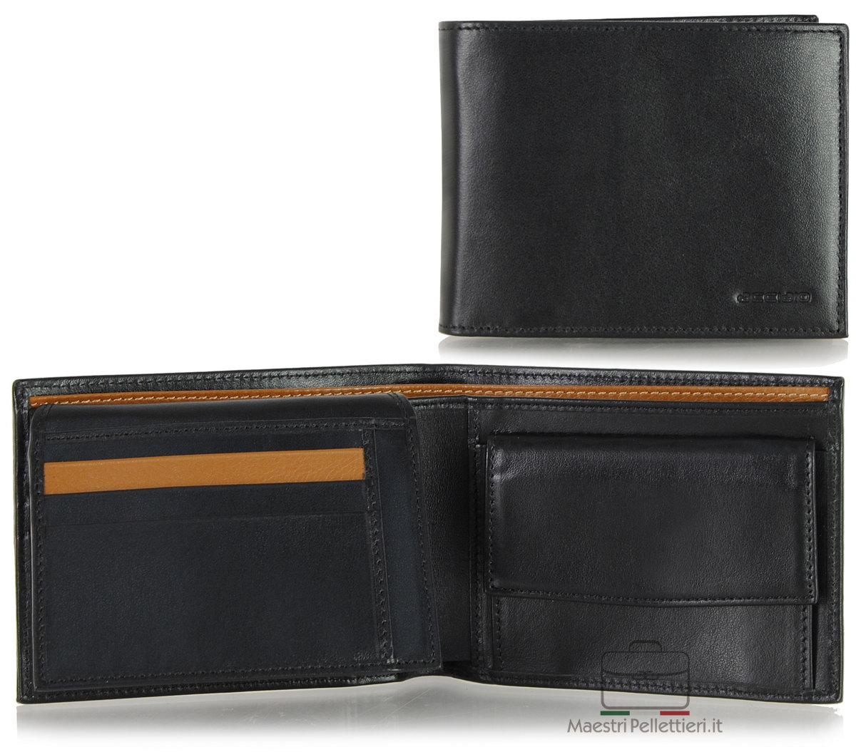 portafoglio nero da uomo con aletta   Acciaio