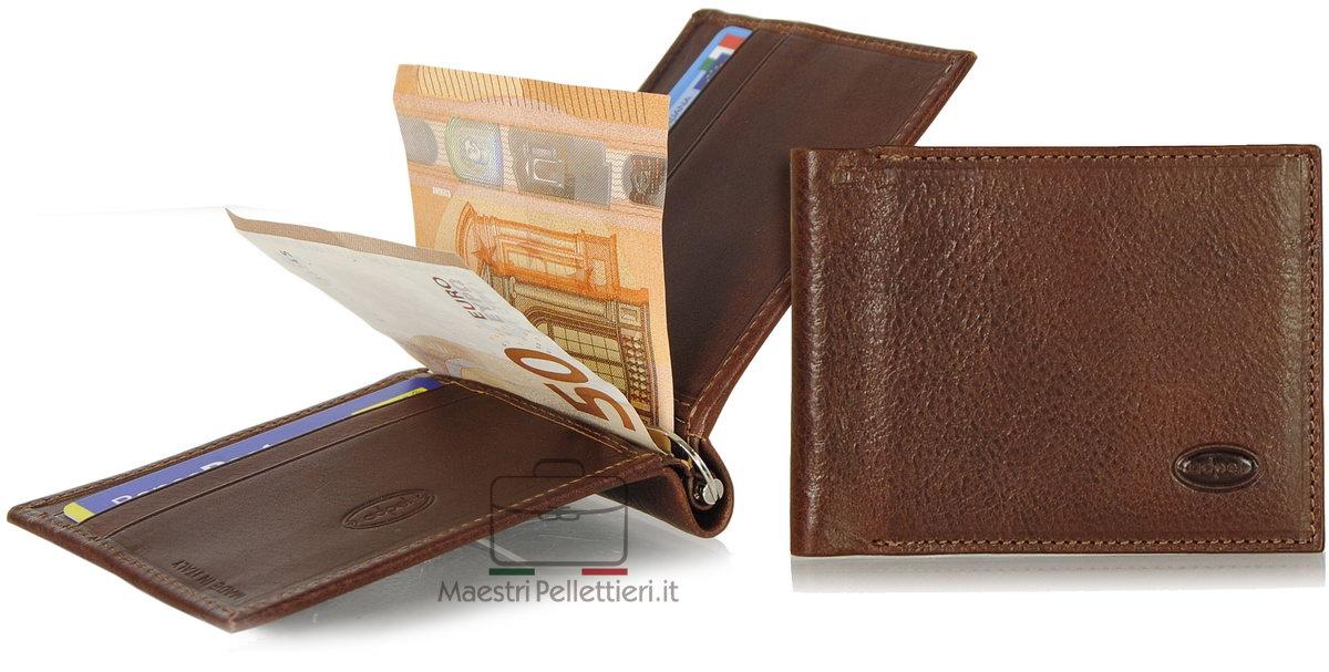 men's leather clip spring wallet