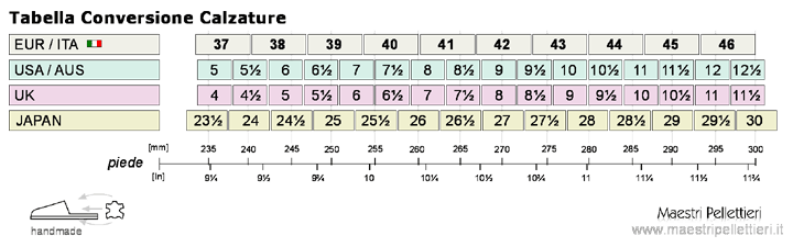 tabella di conversione per calzature